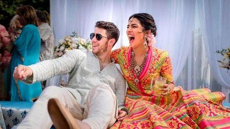 Bollywood actress Priyanka Chopra and Nick Jonas pictured