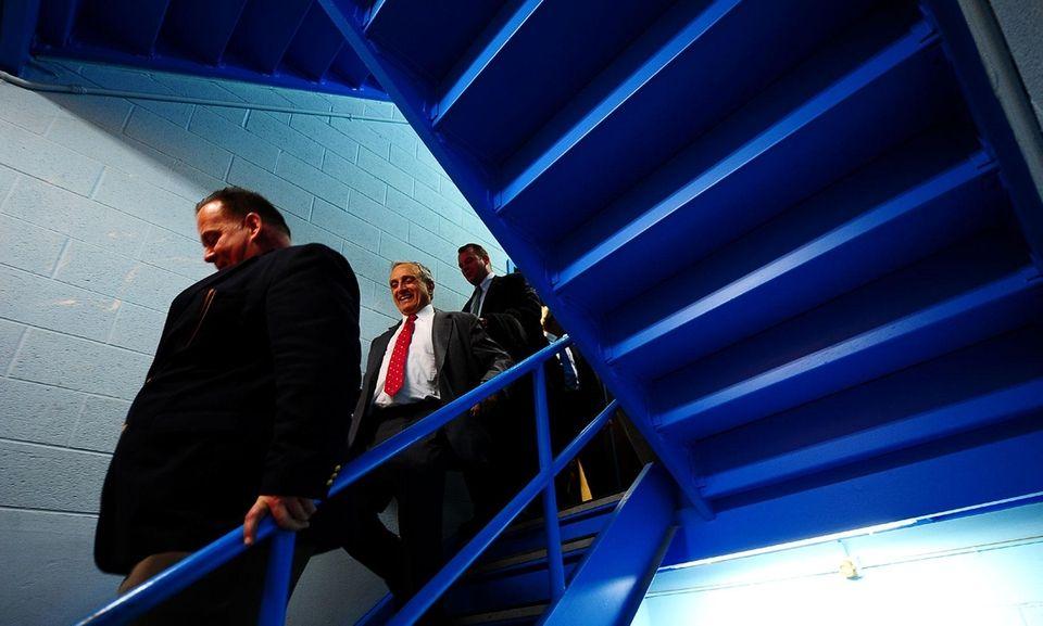 GOP gubernatorial candidate Carl Paladino walks down stairs