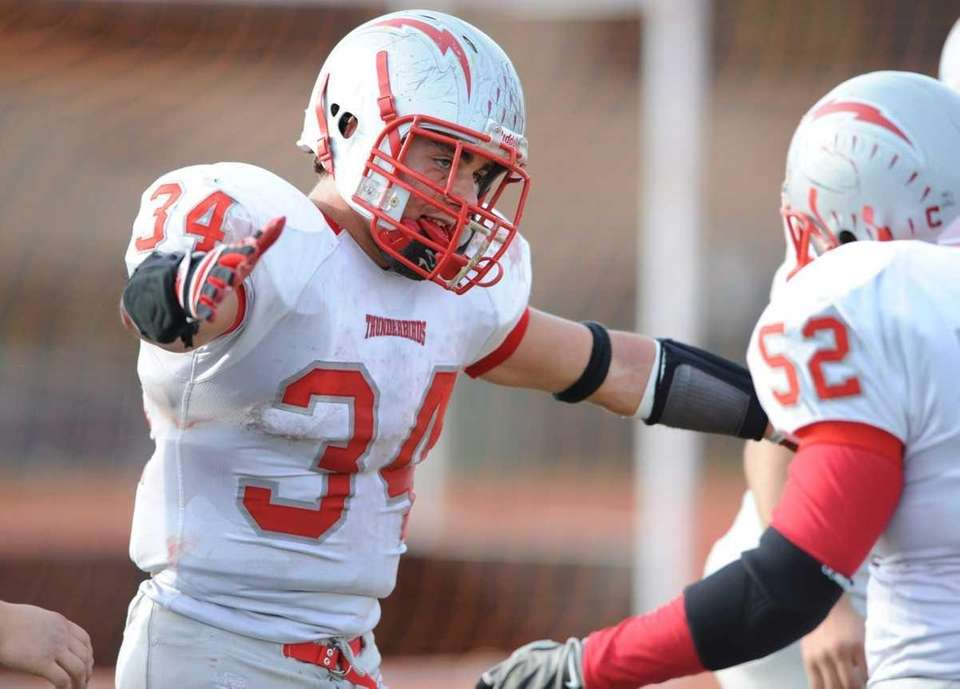 Connetquot's #34 Mike Pellegrino celebrates after one of