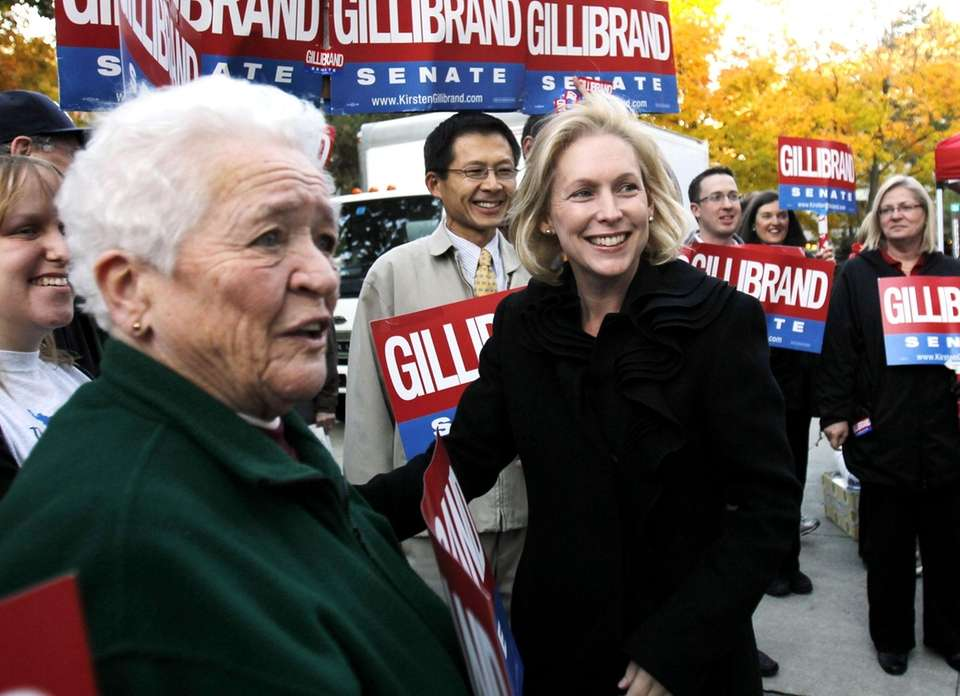 Sen. Kirsten Gillibrand greets supporters during a campaign