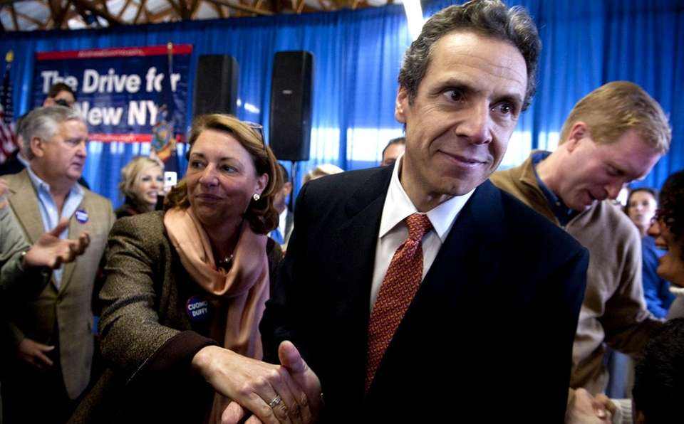 NY gubernatorial candidate Andrew Cuomo greets suporters after