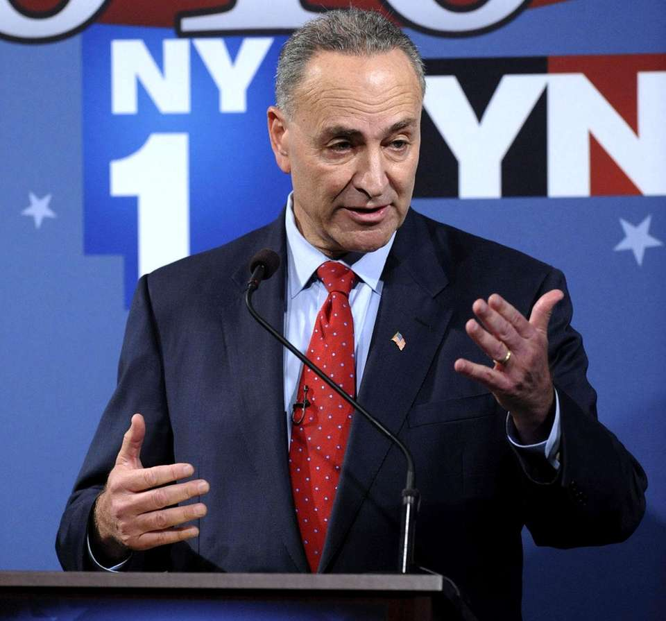 Sen. Charles Schumer speaks during a debate with