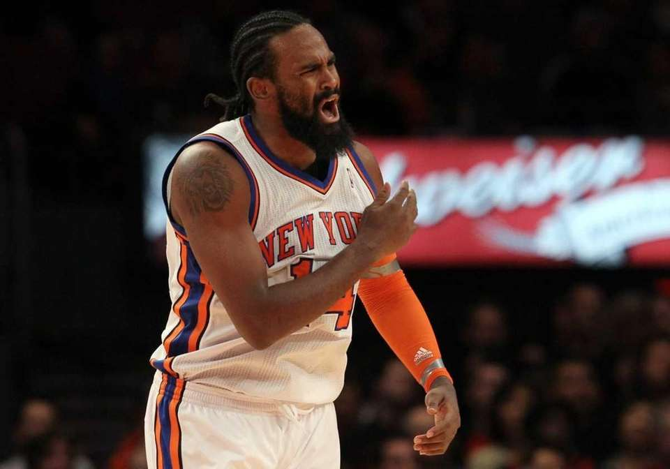 Ronny Turiaf of the New York Knicks reacts