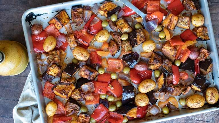 Eggplant, red bell pepper, onion, baby potatoes, apricots