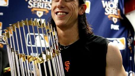 Tim Lincecum of the San Francisco Giants celebrates