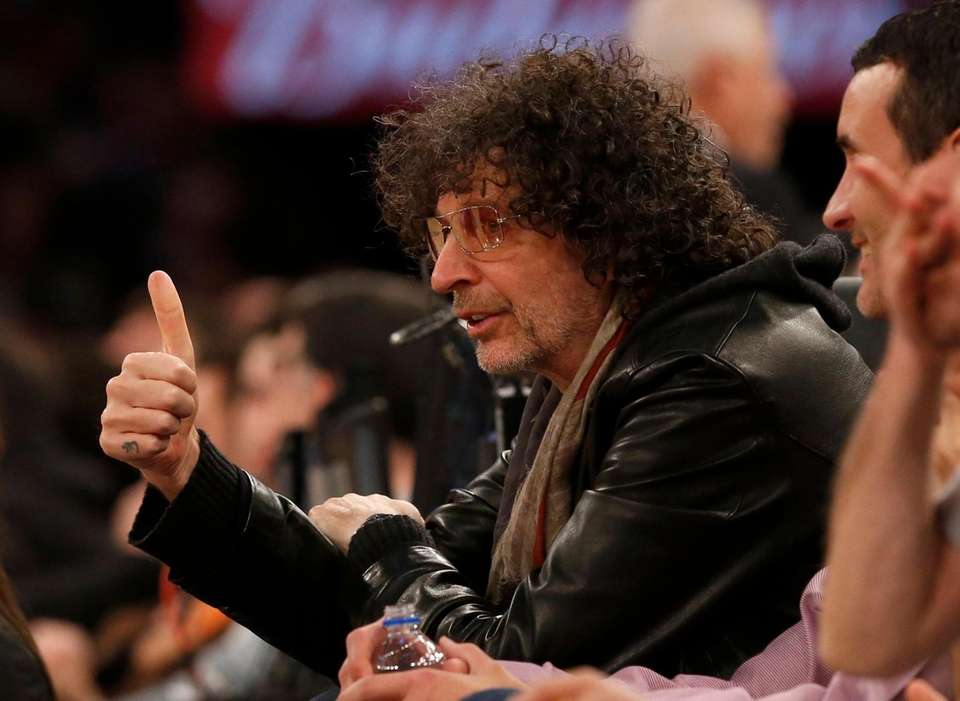 Radio personality Howard Stern attends a game between