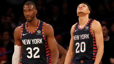 The Knicks' Noah Vonleh and Kevin Knox look