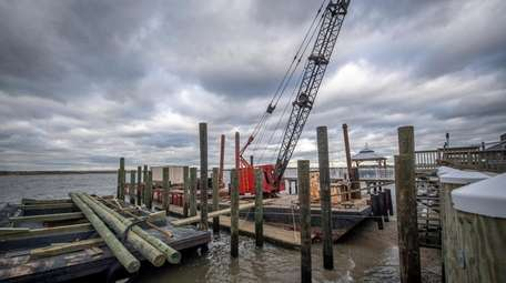 A view of the dock being built behind