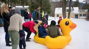 Take a ride down the hill on inflatable
