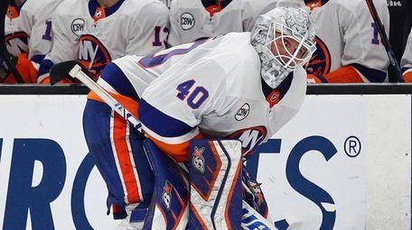 Islanders goaltender Robin Lehner reacts before a shootout