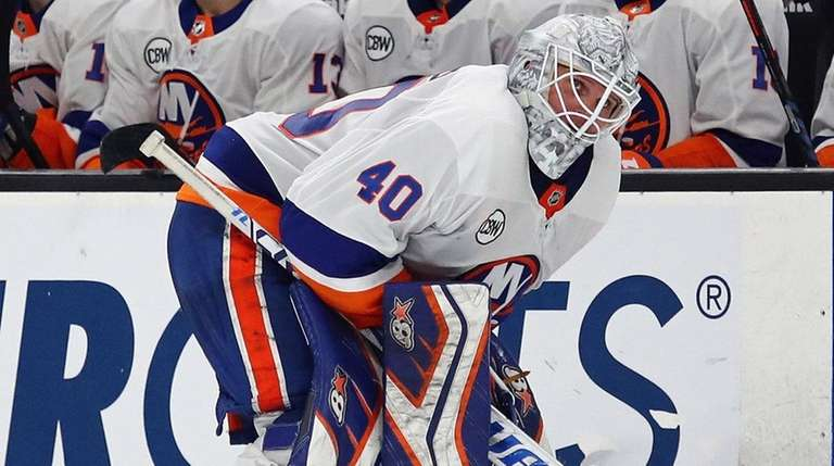 Islanders goaltender Robin Lehner reacts before a shootout
