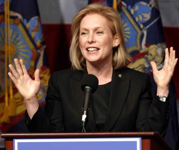 A file photo of Sen. Kirsten Gillibrand delivering