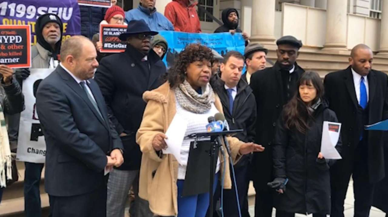 Gwen Carr speaks Tuesday at City Hall in