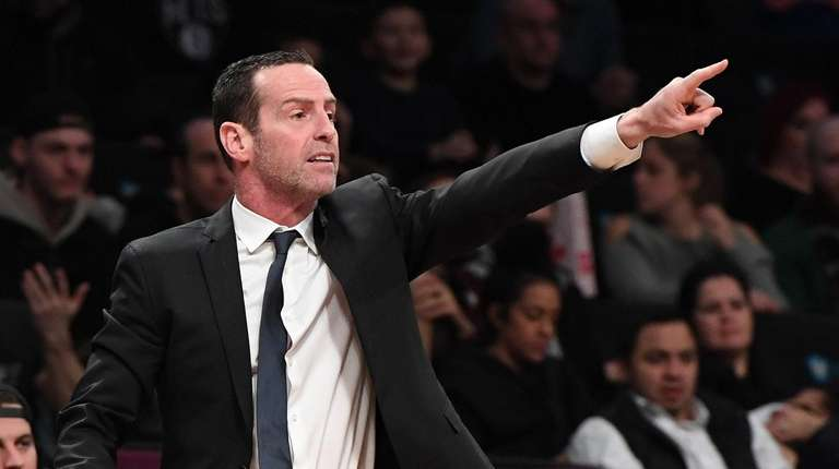 Nets head coach Kenny Atkinson gestures during the