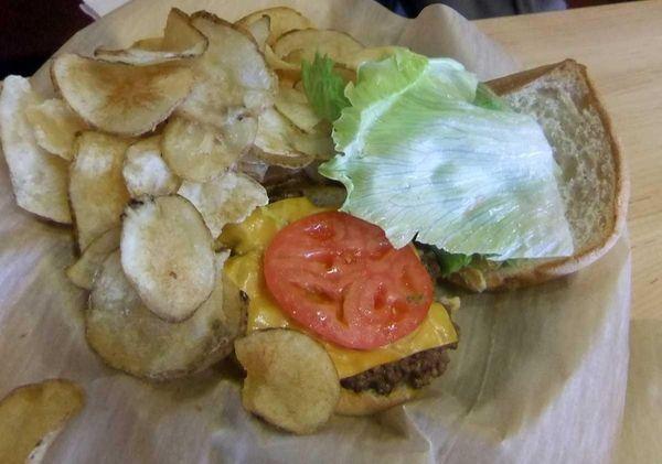 A junior cheeseburger and fries at Jake's Wayback