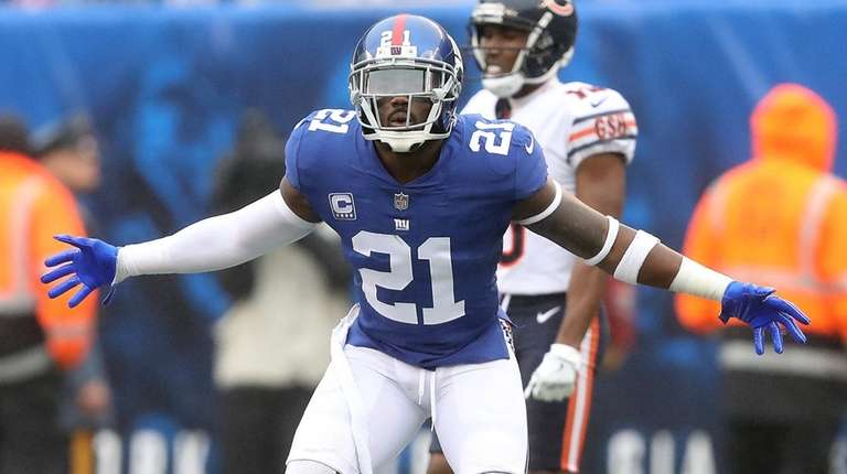 Giants safety Landon Collins reacts after being called