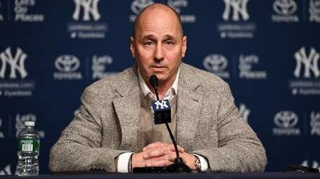 Yankees GM Brian Cashman takes questions from the