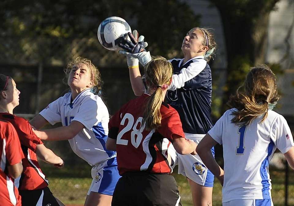 West Islip keeper Samantha Whitney makes a save