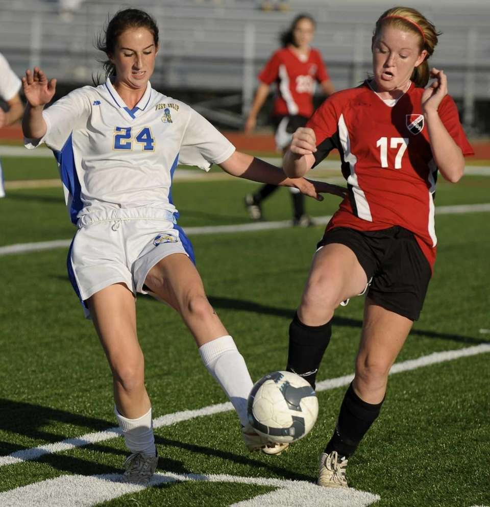 West Islip's Michelle Murphy, left, and East Islip's