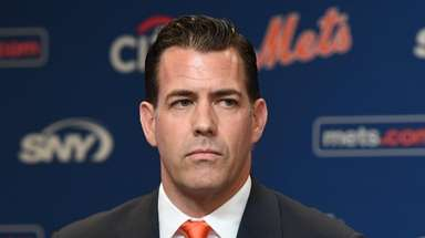 Mets general manager Brodie Van Wagenen speaks during