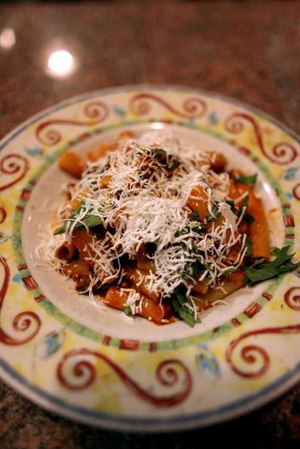 The rigatoni Siciliana, with eggplant, tomatoes, basil and