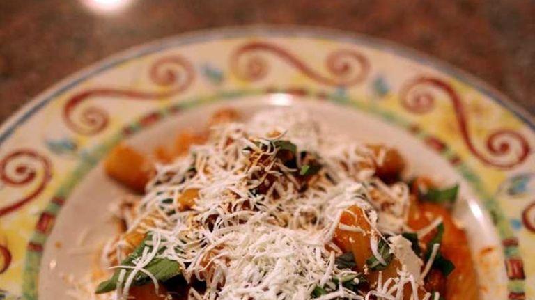The rigatoni Siciliana, with eggplant, tomatoes, basil and
