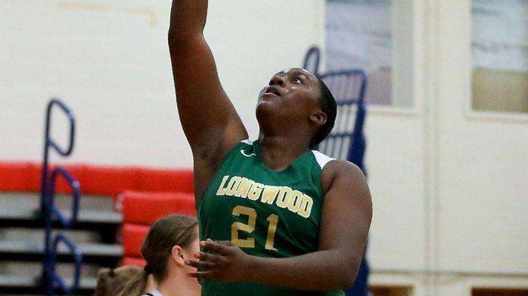 Longwood forward Nyia Longford makes the layup for