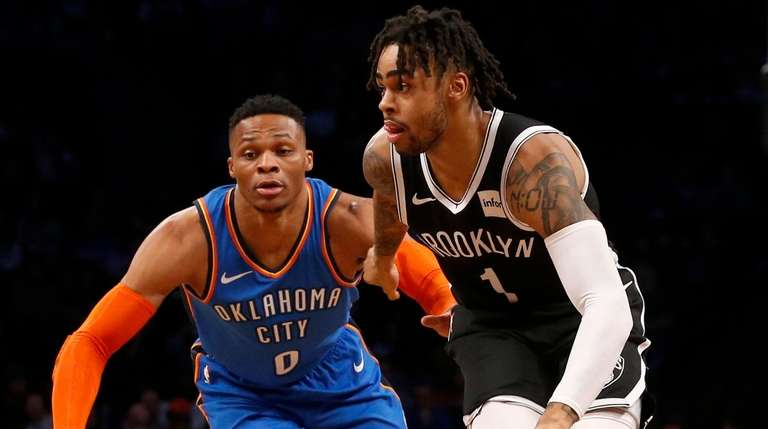D'Angelo Russell #1 of the Brooklyn Nets controls