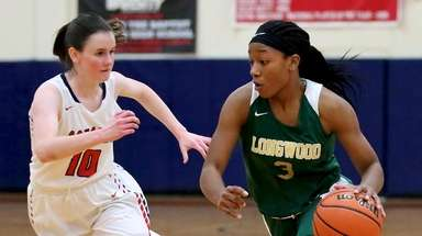 Longwood guard Janelle Brown drives the lane against