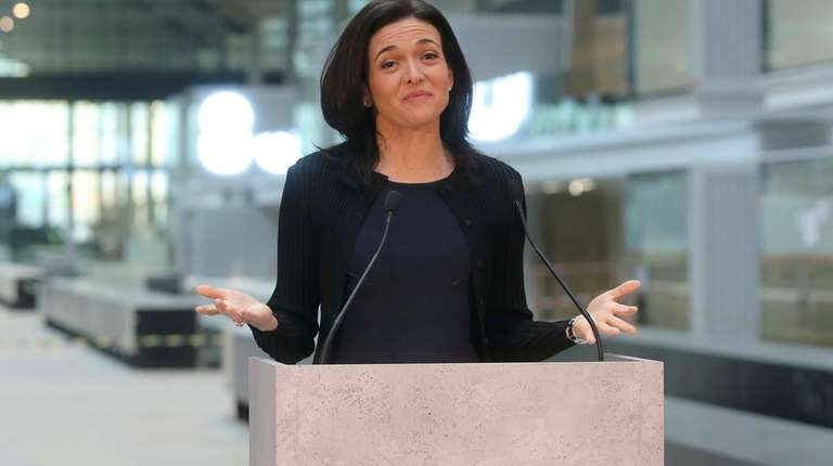 Facebook's chief operating officer, Sheryl Sandberg, delivers a
