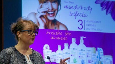Liz DeMaria of Aromafloria speaks at cannabis business
