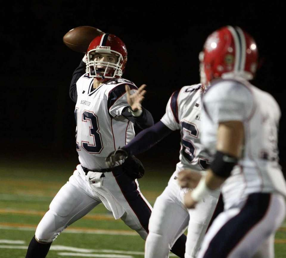 MacArthur's QB Kevin Monahan looks for a short