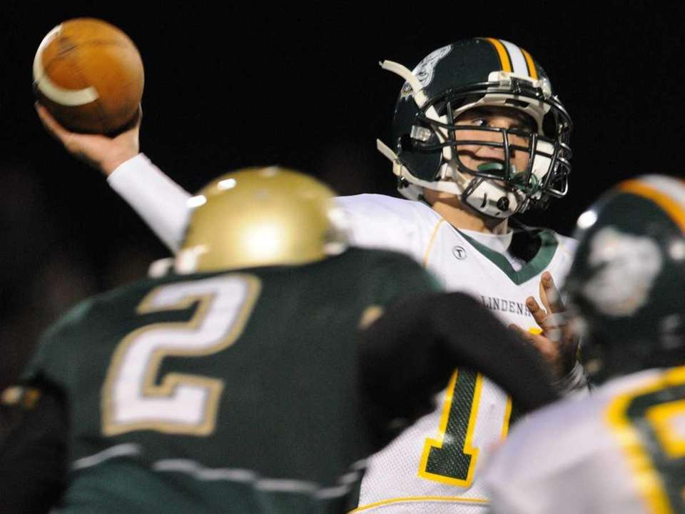 Lindenhurst High School quarterback Stephen Skon throws a