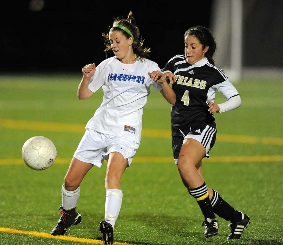 (l-r) Kellenberg's Taylor Salmon and St. Anthony's Steph
