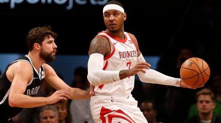 Carmelo Anthony  of the Houston Rockets controls