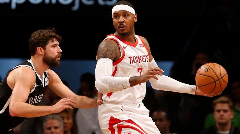Carmelo Anthony  of the Houston Rockets controls