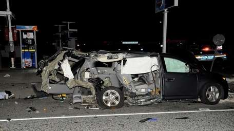 A Honda Odyssey, after police said it crashed