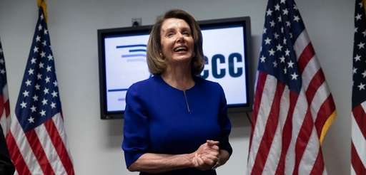House Minority Leader Nancy Pelosi meets with reporters