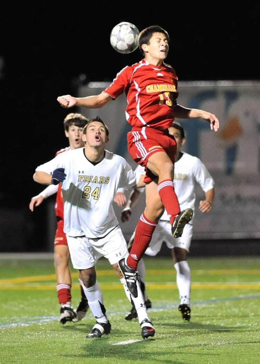. Chaminade's Michael Lobben (13, right), goes up