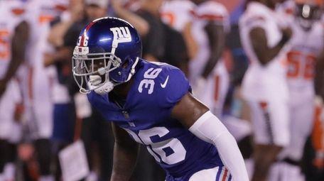 New York Giants defensive back Sean Chandler #36