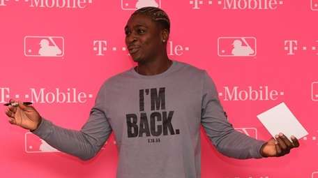 Yankees' Did Gregorius gestures during a meet and