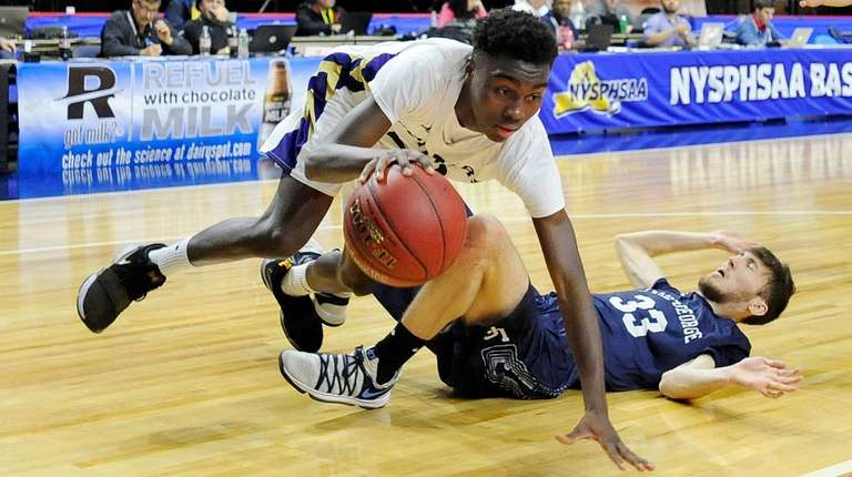 Ahkee Anderson is tripped up by Lake George's