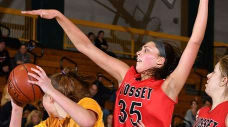 Rachel Mahler #35 of Syosset, center, defends against