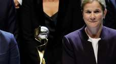 France coach Corinne Diacre, left, and United States
