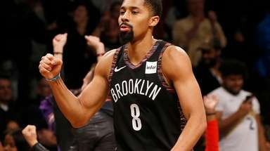 Spencer Dinwiddie #8 of the Brooklyn Nets reacts