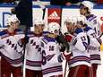 Rangers center Kevin Hayes (13) celebrates with teammates