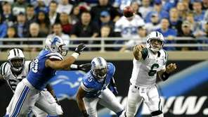 Mark Sanchez of the Jets throws a pass