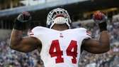 New York Giants' Ahmad Bradshaw reacts after scoring