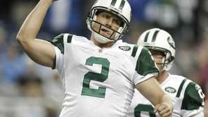 Jets kicker Nick Folk celebrates after nailing the