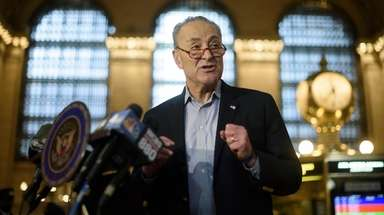 Sen. Chuck Schumer during a news conference at